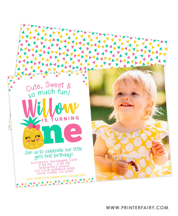 Pineapple First Birthday Invitation with Photo