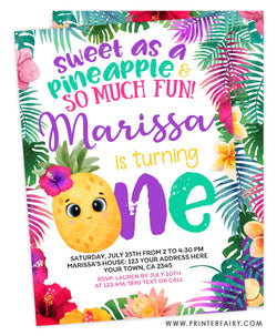Pineapple First Birthday Party Invitation