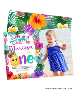 Pineapple First Birthday Party Invitation with photo