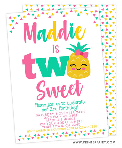 Pineapple Second Birthday Invitation