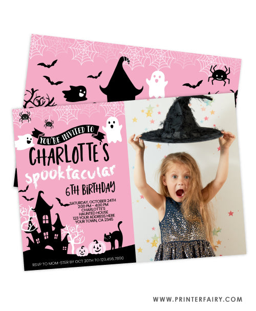 Pink Halloween Birthday Invitation with photo