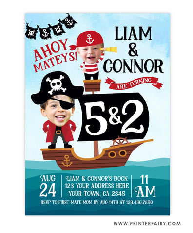 Pirate Birthday Invitation for Siblings - Place Your Face