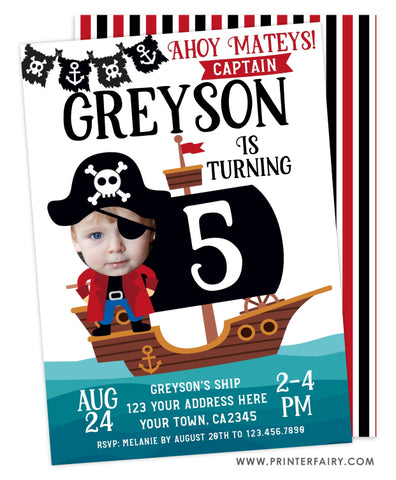 Pirate Birthday Invitation - Place Your Face
