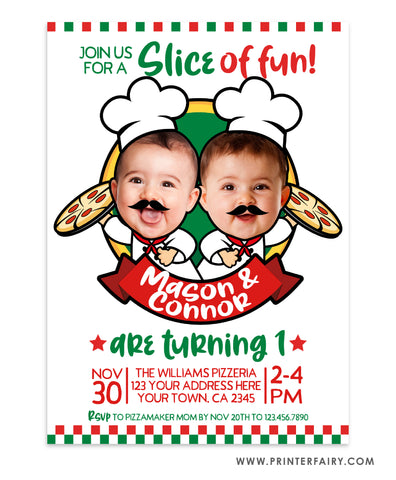 Pizzeria Birthday Party Invitation for Siblings with Photo