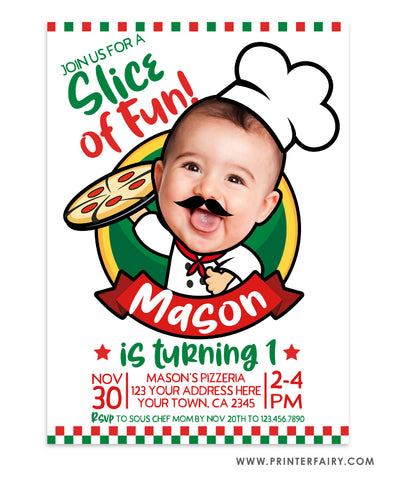 Pizzeria Birthday Party Invitation with Photo