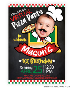 Pizza Virtual Party Invitation with Photo