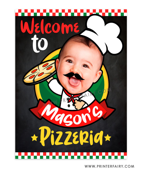Pizza Welcome Sign with Photo