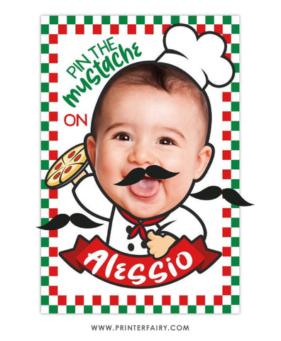 Pizza Pin the Mustache Game