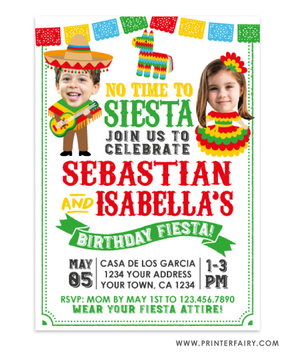 Mariachi & Señorita Fiesta Invitation with Photo for Siblings