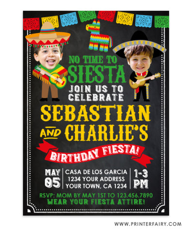 Mariachi Fiesta Invitation with Photo for Siblings