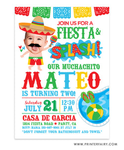 Baby Muchacho Pool Fiesta Invitation with Photo