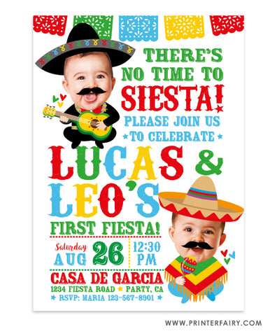 Baby Mariachi Fiesta Invitation with Photo for Siblings