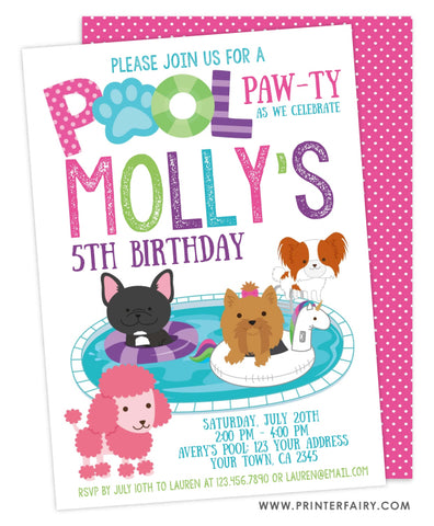 Pool Pawty Birthday Invitation