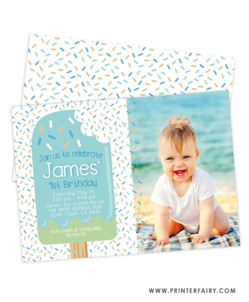 Popsicle Birthday Party Invitation with Photo