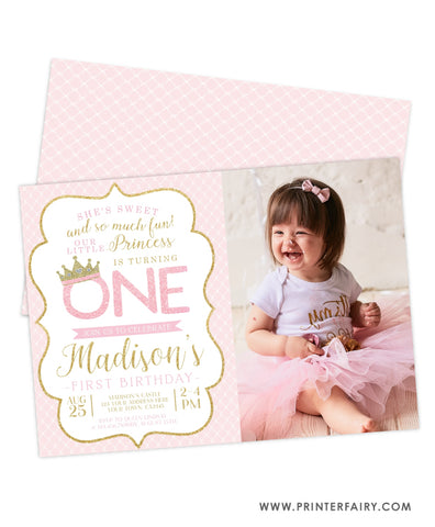 Princess Birthday Party Invitation with Photo