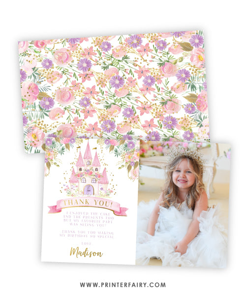 Princess Castle Thank You Card with Photo