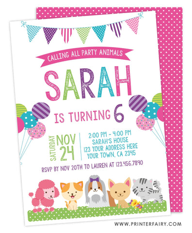 Puppies and Kitties Invitation
