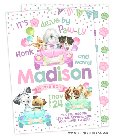 Drive By Puppies Invitation