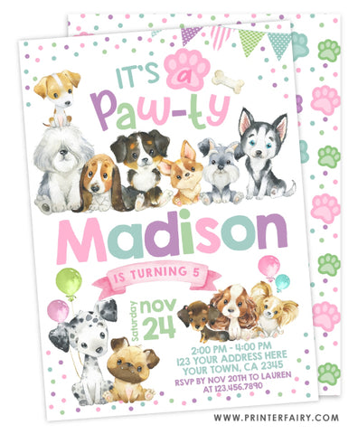 Puppies Birthday Invitation