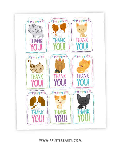 Puppies & Kitties Party Favor Tags