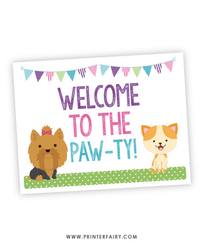 Puppies & Kitties Party Welcome Sign