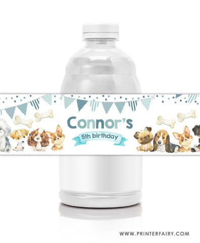 Puppies Water bottle labels
