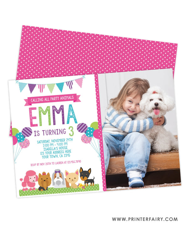 Puppy Birthday Party Invitation with Photo