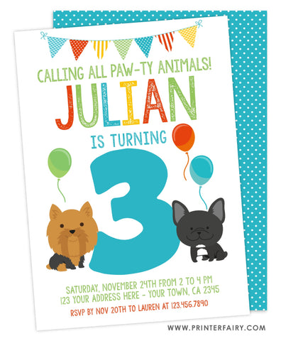 Puppy Third Birthday Party Invitation