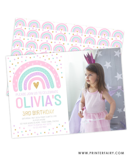 Rainbow Birthday Party Invitation with photo