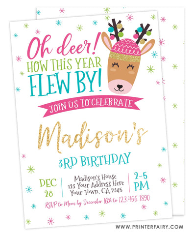 Reindeer Birthday Invitation