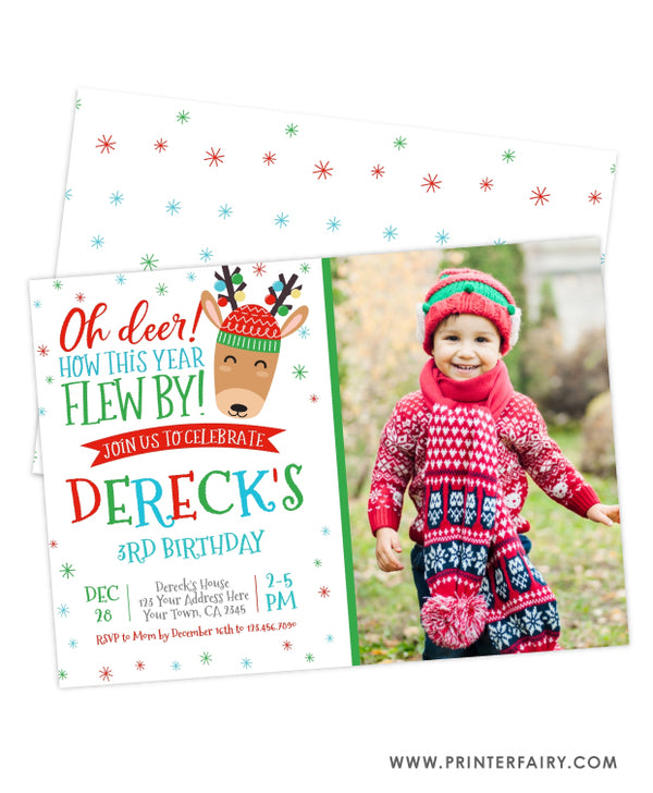 Reindeer Birthday Invitation with Photo