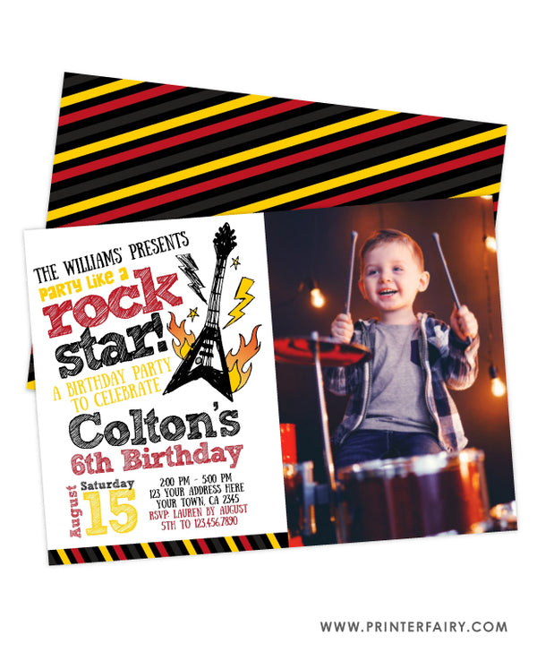 Rockstar Birthday Party Invitation with Photo