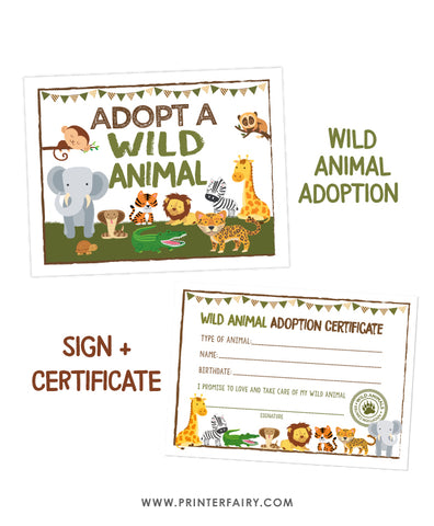 Wild Animal Adoption Pack