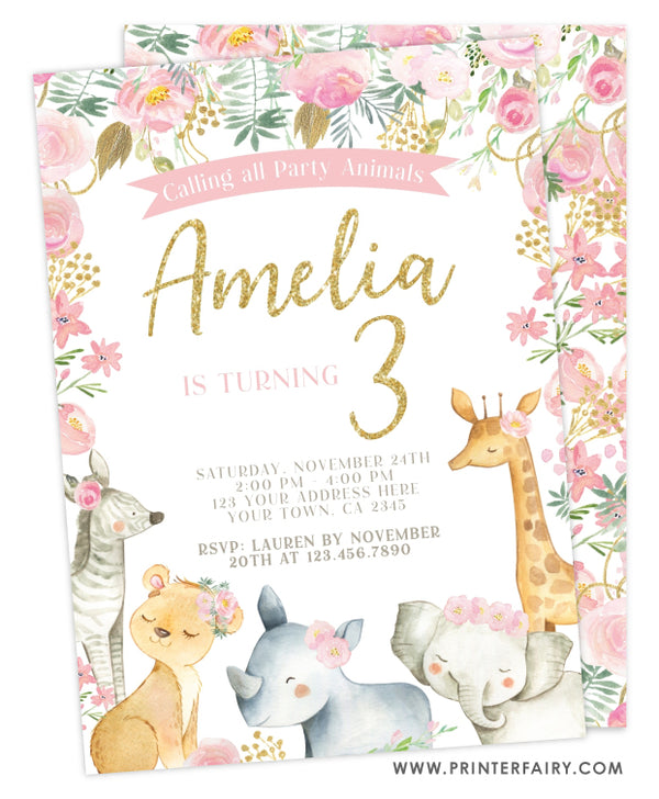 Floral Jungle Birthday Invitation