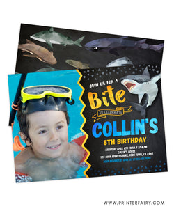 Shark Birthday Invitation with Photo