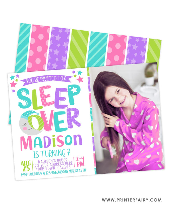 Sleepover Birthday Invitation with Photo