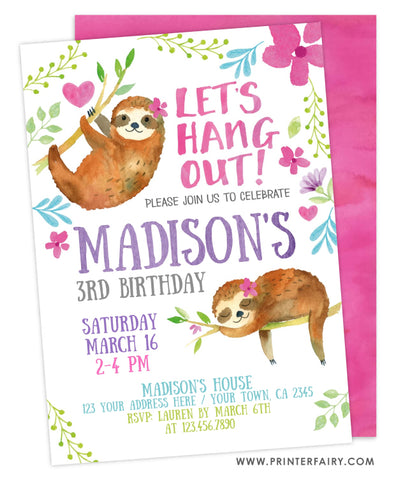 Sloth Birthday Invitation