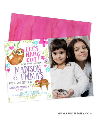 Sloth Siblings Birthday Invitation with Photo
