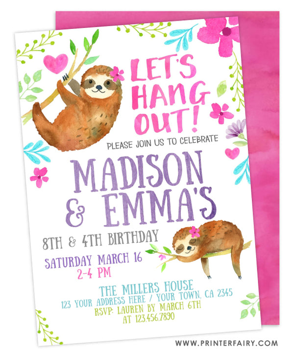 Sloth Siblings Birthday Invitation