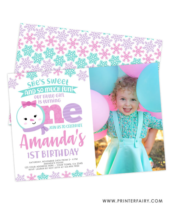 Snow First Birthday Invitation with Photo