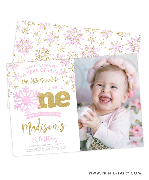 Snowflake First Birthday Invitation with Photo