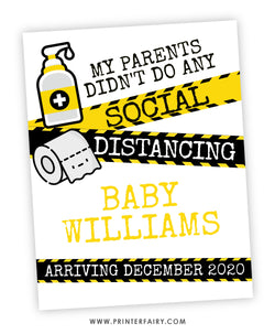 Social Distancing Baby Announcement