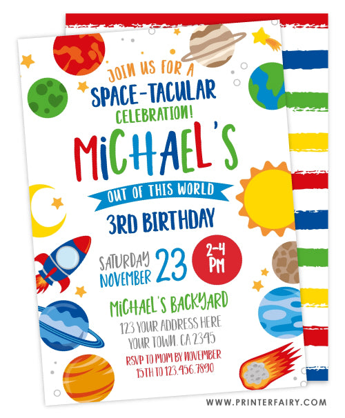 Space Planets Invitation