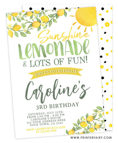 Sunshine Lemonade Birthday Invitation