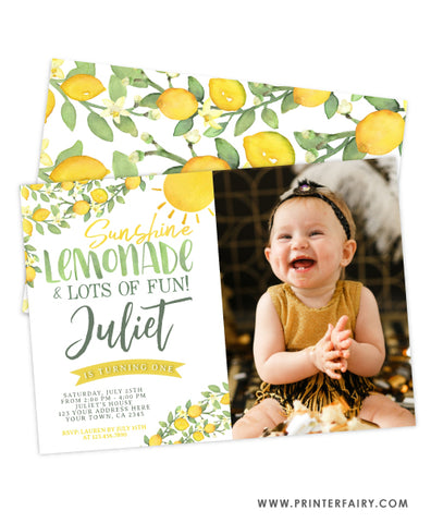 Sunshine Lemonade First Birthday Invitation with Photo