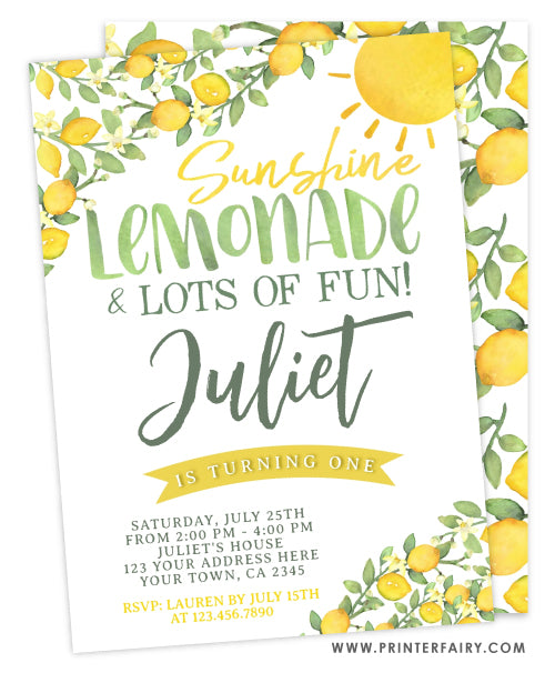 Sunshine Lemonade First Birthday Invitation