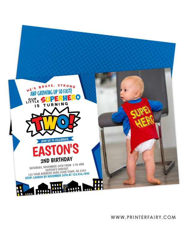 Superhero Second Birthday Party Invitation with Photo
