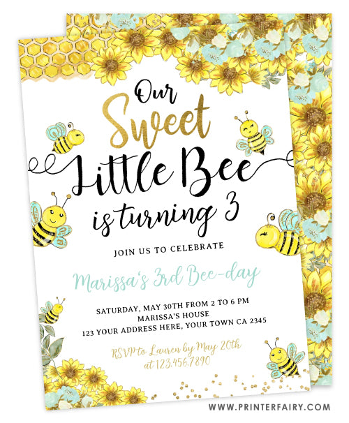 Sweet Little Bee Birthday Invitation