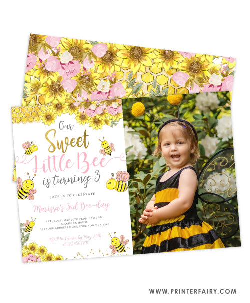 Sweet Little Bee Birthday Invitation with photo