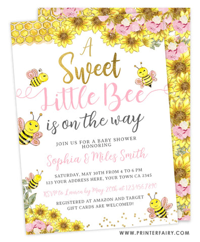 Sweet Little Bee Shower Invitation
